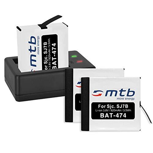 3 Baterías + Cargador Doble (USB) para cámara Deportiva SJCAM SJ7 Star 4K NATIV WiFi (Black/Silver/Rose Edition), SJ7000 Star Actioncam - Contiene Cable Micro USB