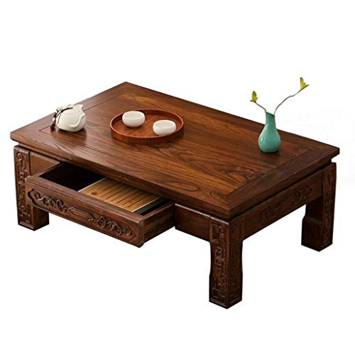 Tables Solid Wood Coffee Japanese Low With Drawers Living Room Coffee Laptop Work (Color : A, Size : 60x40x30cm)