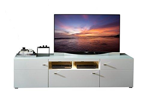 Stella Trading DNWWD11031 TV-Unterteil Perfect Touch, Absetz. Weiss matt geriffelt MDF, Holzdekor, 48 x 210 x 54 cm