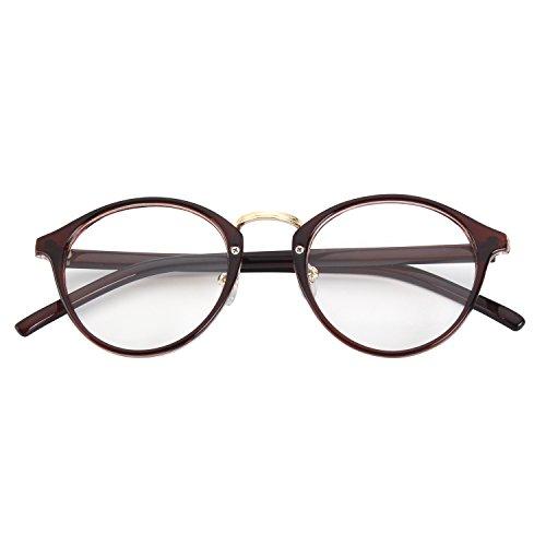 CGID CN65 Retro Anteojos Lente Claro Gafas Para Mujer y Hombre,Marrón