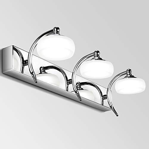 Qucover Luce Specchio LED Bagno 20W, Lampada Parete da Specchio 45 cm, Applique per Bagno per Armadio Trucco in Acciaio & Acrilico, Girevole a max. 180 Gradi, Bianco Freddo