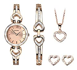 Two-tone rose gold plated and silver coloured stone set case Rose sunray dial Two-tone rose gold plated and silver coloured stone set bracelet Matching pendant, bracelet and earrings 2 year guarantee two-tone rose gold plated and silver coloured ston...