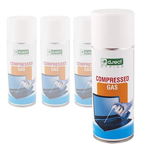 D.RECT Druckluftspray 4x400ml | Druckluftreiniger | für: die Reinigung von Tastatur, Computer, Kamera, Handy