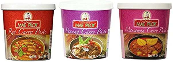 Mae Ploy Red Curry Paste, Massaman Curry Paste and Panang Curry Paste Set.(14 oz Each, Pack of 3)
