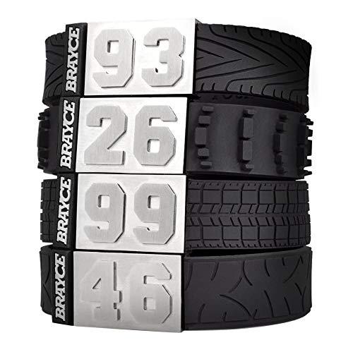 BRAYCE® Motorsport Armband im Reifen Style mit Deiner Nummer 00-99 I Autoreifen, Rennreifen, Motocrossreifen & Motorradreifen I Geschenk für Autoliebhaber, Autofahrer, Biker & Motorradfahrer