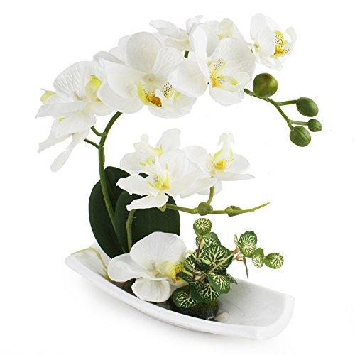 Artificial Orchids Faux Orchid White Orchid Arrangements for Kitchen TableCenterpieceSilkFake Flowers for DecorationHomeDecorOfficeWedding Vivid