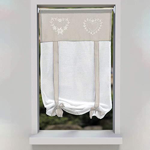 SIMPVALE 1 Pezzo Tie up - Tenda in Voile Tulle Ricamo Romano Tenda - Tende Pannelli Finestra per Camera da Letto, Studio, Bagno, Cucina, Marrone Chiaro, 45x120cm