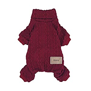 Fitwarm Turtleneck Knitted Dog Sweaters Winter Outfits Knitwear Pet Coats Cat Clothes Wine