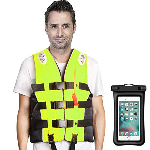 Mistore Life Jacket, 360 Degree Reflective Belt, Life Device with Smartphone Waterproof Case + Call Whistle, Floating Vest, For Adults, Multiple Pockets, Strong Buoyancy, Safe and Secure, Available in 4 Sizes, Unisex, Suitable for Fishing, Drifting, Beach, River, Camping, etc. for Small Vessels (Yellow, L) Adult