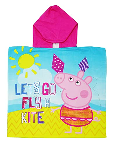 Peppa Pig Official Character Girls Hooded Poncho Towel