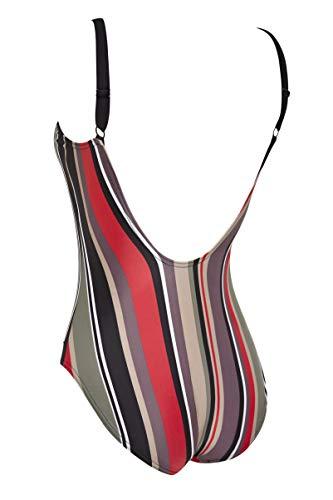 Zoggs Monte Carlo Deep Scoopback Eco Traje de baño de una Pieza para Mujer, Mujer, 122620034, Rayas, 34-Inch/UK 10