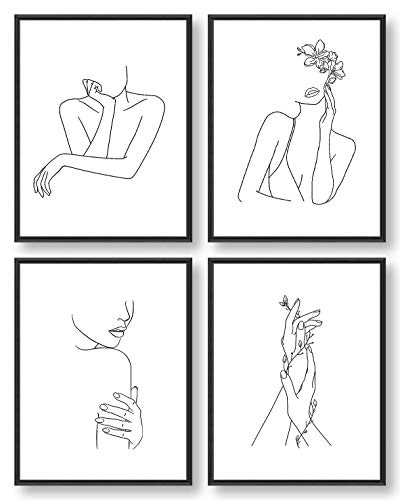 Minimalist Wall Art, Black and White Wall Art, Aesthetic Wall Decor, Wall Art for Bedroom, Line Art for Girls Women Home Posters Prints (Set of 4, 8X10in, Unframed)
