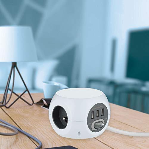 Electraline 35443 Mini Cube avec 3 Ports USB 2.4A, Bloc 3 Prises avec Interrupteur, Rallonge Multiprise 3M, Blanc