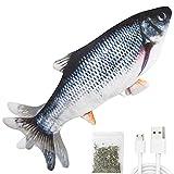 [Jouet de poisson électrique réaliste] À l'aide de l'impression bionique 3D, le poisson de simulation ressemble à un vrai poisson, capteur tactile intégré, caresse ou touche le corps du poisson, le jouet pour chat de poisson flopera ou remuera automa...