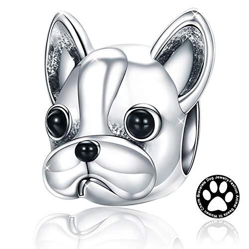 YANGTE Abalorio de Mujer de Perrito, Plata de Ley 925 para Bulldog Francés Animales Abalorio de Encanto, Accesorios de la Joyería Mejor Regalo Compatible con Collar y Pulseras Europeas