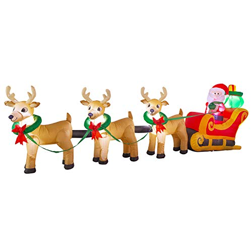 YIHONG 12 Ft Long Christmas Inflatables Santa on Sleigh with 3 Reindeers and Gifts Bag Decorations - Blow up Party Decor for Indoor Outdoor Yard with LED Lights