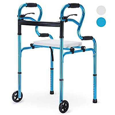 "Health Line Massage Products 4 in 1 Stand-Assist Folding Walker with Detachable Seat, Trigger Release and 5"" Wheels Supports up to 350 lbs, Compact Lightweight & Portable - w/Bonus Glides, Blue"