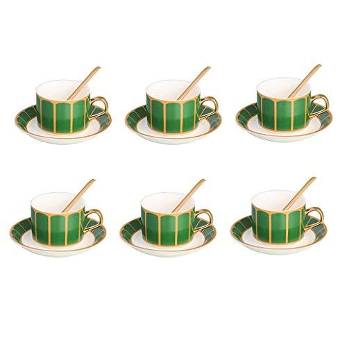 RTG Teetassen und Untertassen 6er-Set (4 oz) mit schwarzem Goldrand. Teetassenset Cappuccinotassen, Kaffeetassen, englische Kaffeetassen, Porzellanteeset, Lattentassen, Espressotasse (Color : Green)