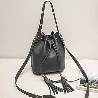 Docooler Women Bucket Bag Solid PU Leather Drawstring Tassel Unlined Mini Small Casual Crossbody Shoulder Bag