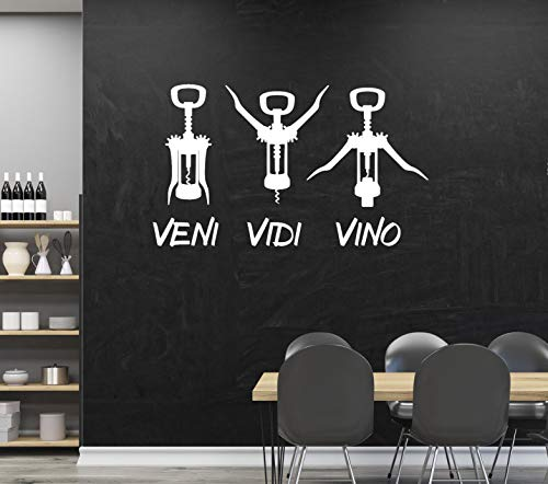 tjapalo® a153 Wandtattoo Küche Sprüche Wandtattoo küchen Wandtattoo Wein Küchensprüche Esszimmer Partyraum Vino Gastronomie, Farbe: Schwarz, Größe: B58xH29cm