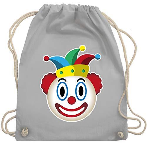 Shirtracer Karneval & Fasching - Clown Emoticon - Unisize - Hellgrau - Verkleidung Kostüm - WM110 - Turnbeutel und Stoffbeutel aus Baumwolle