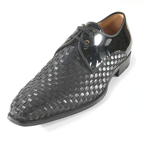 Mezlan Sexto Mens Luxury Dress Shoes - Black Formal Blucher Oxfords with Leather Sole - Woven...