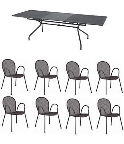 EMU Table pour extérieur extensible, modèle Athena de marque Dimensions 160 + 50 x 90 h cm – Couleur fer antique + 8 fauteuils ronds avec accoudoirs, fabriqué en Italie