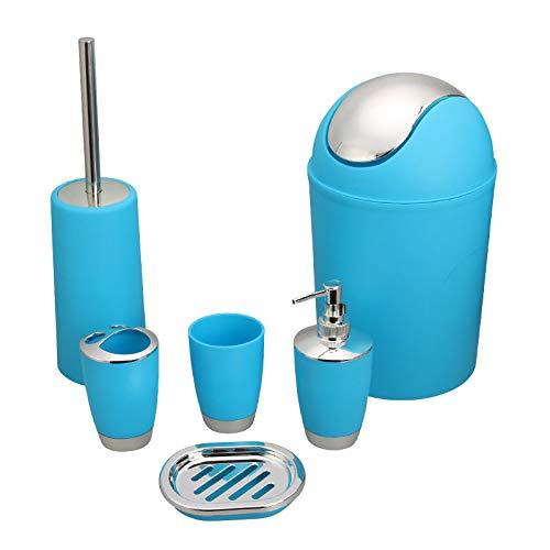 TOHHOT 6-delig/set vuilnisemmer toiletborstel vloeistofdispenser zeepkist mok tandenborstelhouder set voor badkamer