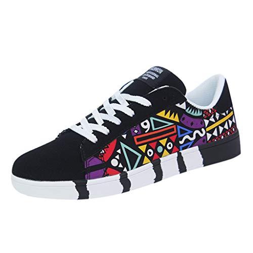 Yowablo Sneakers Herrenmode Lässige Schnürfarbe für Canvas Sportschuhe Graffiti-Schuhe (44,Schwarz)
