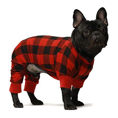 Fitwarm 100% Cotton Buffalo Plaid Dog Clothes Puppy Pajamas Pet Apparel Cat Onesies Jammies Doggie Jumpsuits Red Medium