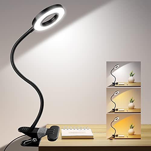 Clip on Light, ZHUPIG Desk Lamps for Home Office Dimmable with 3 Color Modes, Eye Protection Clamp Reading Lights 24 LED Book Clamp on Light for Video Conferencing, Laptop Computer Webcam Zoom