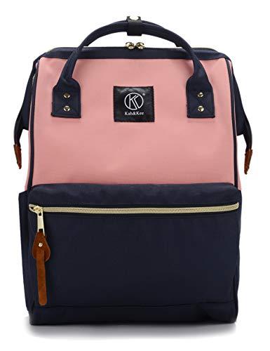 Kah & Kee polyester laptoprugzak, waterdicht, anti-diefstal, luiertas, universiteit dames heren (tricolor, klein)