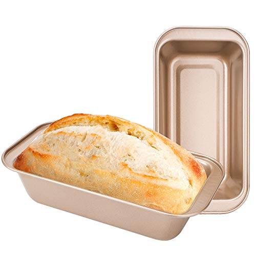 Bread Loaf Pans for Baking, Beasea 2pcs Nonstick Loaf Pans 8.5 x 4.5 Inch Bread Loaf Pans Golden Loaf Baking Pans Carbon Steel Loaf Bakeware for Cake Homemade Oven Baking
