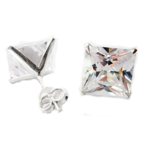 8MM Bling MENS Square/Princess Cut Diamond Cubic Zirconia (CZ) Set Sterling Silver Stud Earrings/Ear Studs for Men/Teenage/Boys - 925 Sterling Silver - White/Clear - Beckham Style
