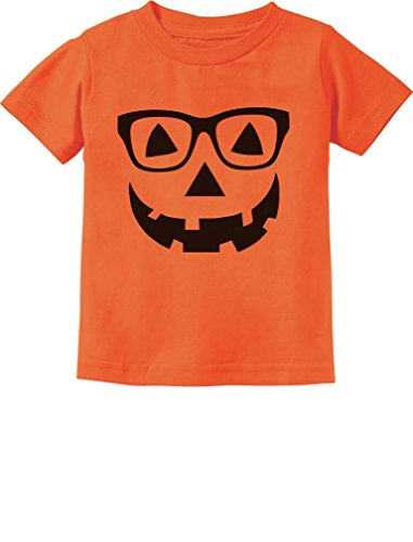 Cute Little Geeky Pumpkin Halloween Jack O' Lantern Toddler Infant Kids T-Shirt 24M Orange