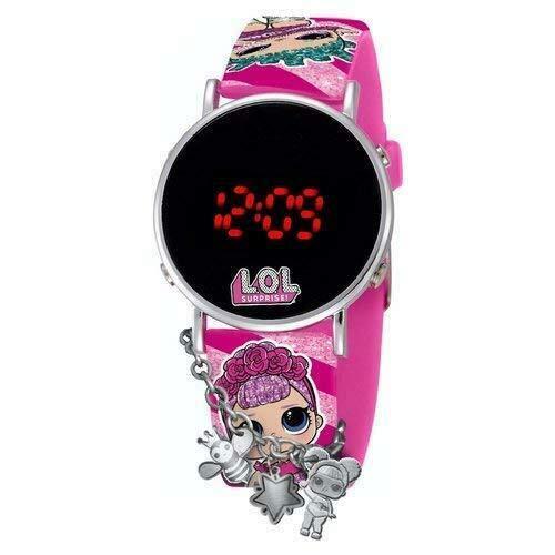 LOL Surprise LED-Armbanduhr mit Anhängern für Mädchen und Mädchen, inklusive Glitzer-Stift-Box