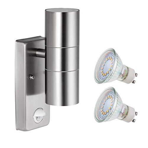 SEBSON® LED Aussenleuchte mit Bewegungsmelder, Wandleuchte Edelstahl, up down, IP44, Außenwandleuchte Sensor 8m / 120° - inkl. 2x GU10 LED 3,5W 300lm 6500K