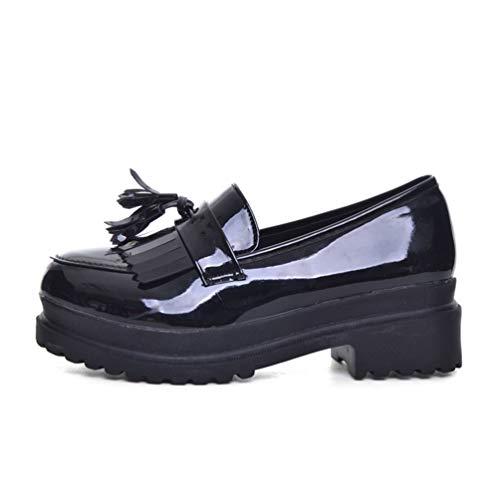 Mujeres Zapatos Casuales Primavera Cuero Oxfords Plataforma Slip-on Mujeres Pisos