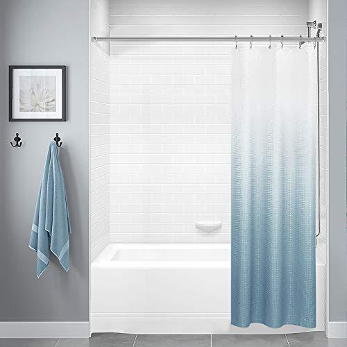 Strukturierter Duschvorhang aus Polyester, Ombre-Duschvorhang für Badezimmer, wasserdichter Duschvorhang mit 12 Haken, maschinenwaschbar (91,4 x 177,8 cm, blaugrau)
