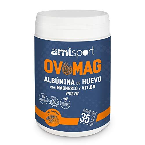 AML SPORT -OVOMAG- Albumina de huevo, Magnesio y Vitamina B6 – 410 gr. Regenerador de fibras musculares. Ayuda a disminuir el cansancio y la fatiga. CACAO 100{83a72a448b78c1c745e72331cb73eaaf41dbd4afeb13d5031b5fa4d647b6c770} PURO NATURAL. Envase para 35 días.