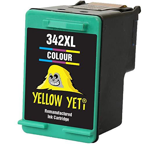 Yellow Yeti Remanufacturado 342 Cartucho de Tinta Color para HP Photosmart 2570 2575 2710 8150 C3100 C3180 C4180 D5160 DeskJet 5440 5442 6310 Officejet 6315 PSC 1510 [3 años de garantía]