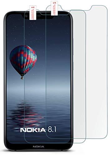 moex Panzerglas kompatibel mit Nokia 8.1 - Schutzfolie aus Glas, bruchsichere Bildschirmschutz Folie, Crystal Clear Panzerglasfolie, 2X Stück