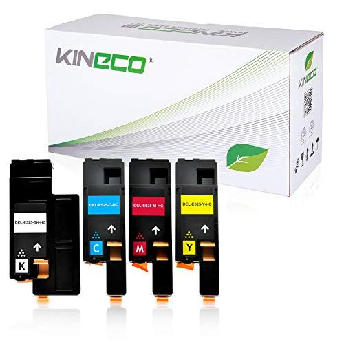 Kineco 4-Pack Toner kompatibel mit Dell E525w Multifunktionsdrucker - Schwarz 2.000 Seiten, Color je 1.400 Seiten