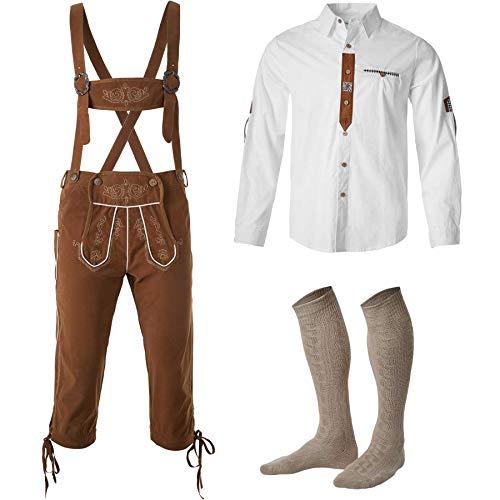 dressforfun 950001 Uomo Set Costume Tradizionale 3 Pezzi, Pantaloni Tirolesi al Ginocchio, Camicia Manica Lunga, Calzettoni -Disponibili in Diverse Misure (Pantaloni S | Camicia S| Nr. 350013)