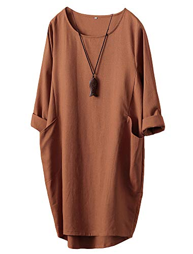 Minibee Women's Oversized Tunic Dress Long Sleeve Loose Baggy Tshirt Tops with Pockets Orange M