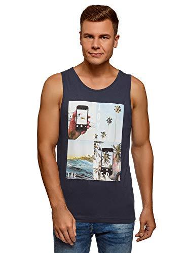 oodji Ultra Hombre Camiseta de Tirantes de Algodón con Estampado, Azul, ES 58-60 / XXL