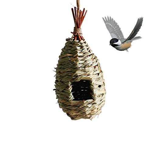 TentHome Vogelnest Vogelhaus Vogelhäuschen Nistkasten Zum Aufhängen Nisthaus Käfig Stroh Meisenkasten Papageiennest Vogelnester für Papageien Sittiche Kanarienvogel Nymphensittich Vögel (B)