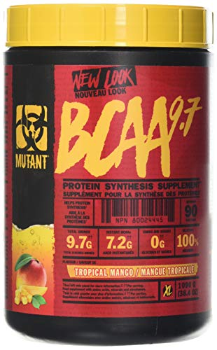 MUTANT BCAA 9.7 Supplement BCAA Powder with Micronized Amino Acid and Electrolyte Support Stack, 1044g (2.30 lb) - Tropical Mango