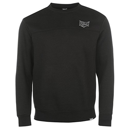 Everlast Herren Sweatshirt Rundhals Langarm Pullover Logo Schwarz L