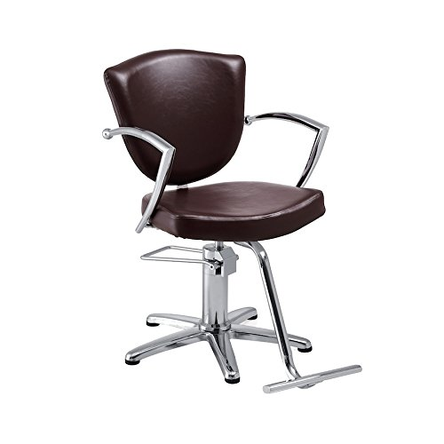 Standish Salon Goods Veronica Salon Chair in Brown with 5-Star Base and T-Shaped Footrest Barber Chair - Chrome Armrests Perfect for Small Spaces